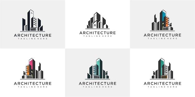 Zestaw szablonu projektu logo architektury. logo architektury