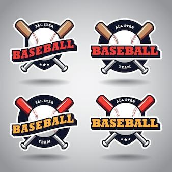 Zestaw szablonu projektu logo baseball baseball