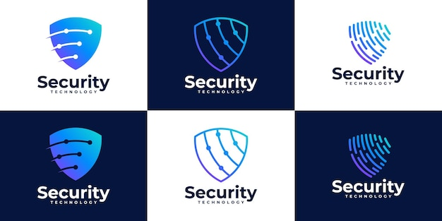 Zestaw szablonu projektu logo bezpieczeństwa tech shield
