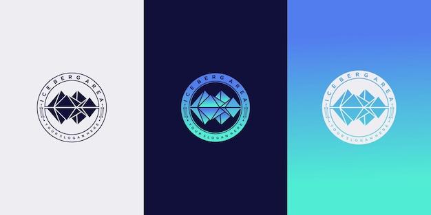 Zestaw szablonu projektu logo góry lodowej z kreatywnym stylem godła premium wektor