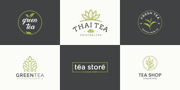 Zestaw szablonu projektu logo liść herbaty kolekcji. logotyp herbaciarni, herbaciarni, opakowania produktu.