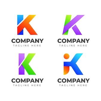 Zestaw szablonu projektu logo litera k z kolorową koncepcją. dla biznesu mody, sportu, motoryzacji, elegancji