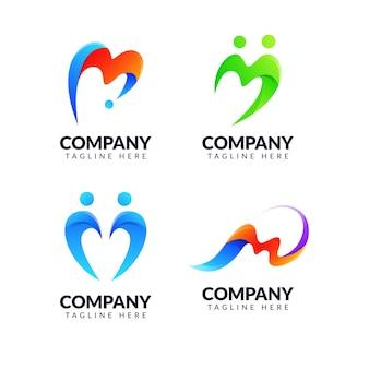 Zestaw szablonu projektu logo litera m z kolorową koncepcją. dla biznesu społecznego, edukacyjnego, modowego, prostego