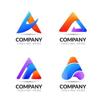 Zestaw szablonu projektu logo litery a z kolorową koncepcją. dla biznesu aplikacji, internetu, technologii, nowoczesnych