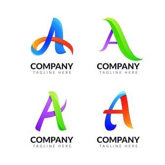 Zestaw szablonu projektu logo litery a z kolorową koncepcją. dla branży mody, proste