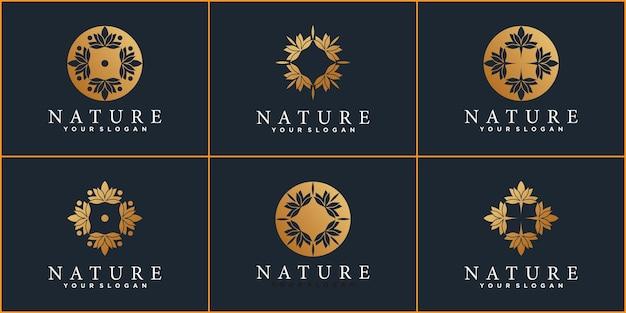 Zestaw szablonu projektu logo natury z kreatywnym stylem i projektem wizytówek premium wektor