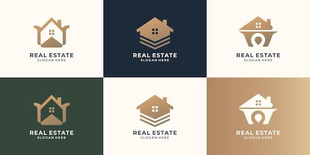 Zestaw szablonu projektu logo nieruchomości. architektura, budynek, dom, projekt domu, nowoczesne osiedle.
