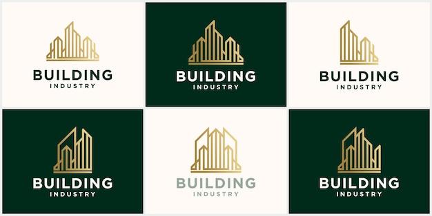Zestaw szablonu projektu logo nowoczesnego budynku