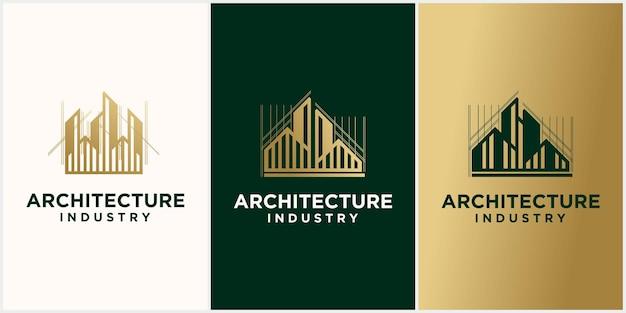 Zestaw szablonu projektu logo nowoczesnej architektury domu budynku przemysłowego