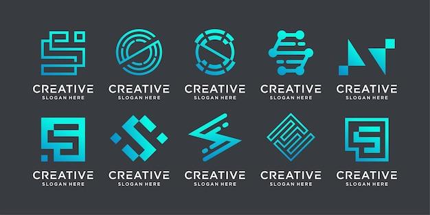 Zestaw szablonu projektu logo początkowa litera s monogram. ikony dla biznesu