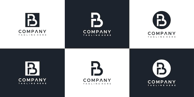 Zestaw Szablonu Projektu Logo Rb Streszczenie Listu Premium Wektorów