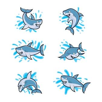 Zestaw szablonu projektu logo rekina