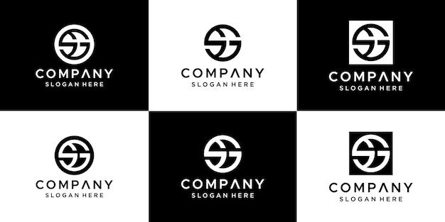 Zestaw szablonu projektu logo sg streszczenie listu