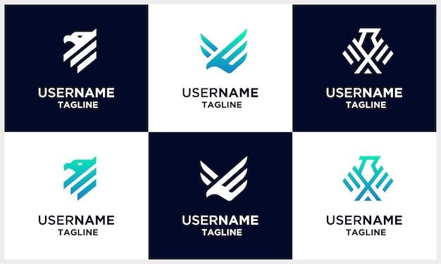 Zestaw szablonu projektu logo sokół, jastrząb, orzeł mocny monogram