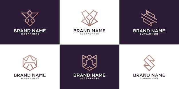 Zestaw szablonu projektu logo streszczenie litery od a do z. logo creative monogram
