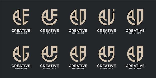 Zestaw szablonu projektu logo streszczenie monogram