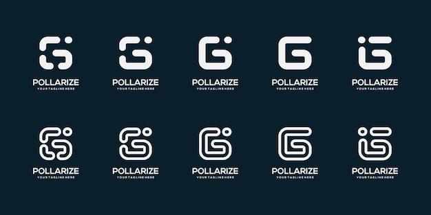 Zestaw szablonu projektu logo streszczenie pierwsza litera g. dla biznesu cyfrowego, technologii