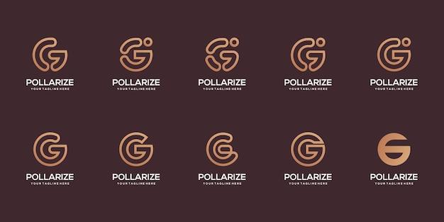 Zestaw szablonu projektu logo streszczenie pierwsza litera g. ikony dla biznesu technologii cyfrowych
