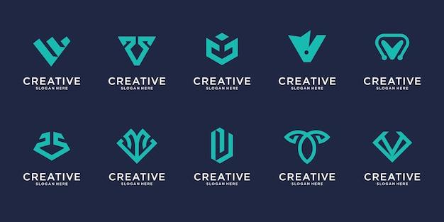 Zestaw szablonu projektu logo streszczenie pierwsza litera v. ikony dla biznesu luksusu, eleganckiego, prostego.