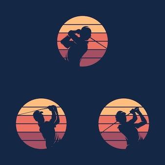 Zestaw szablonu projektu logo sylwetka sport golfa