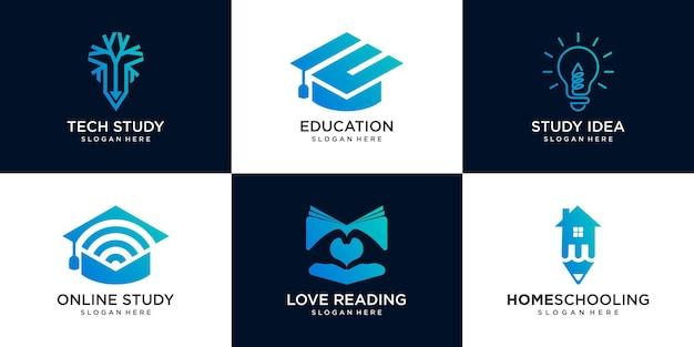 Zestaw szablonu projektu logo uniwersytetu, akademii, szkoły, edukacji i kursu