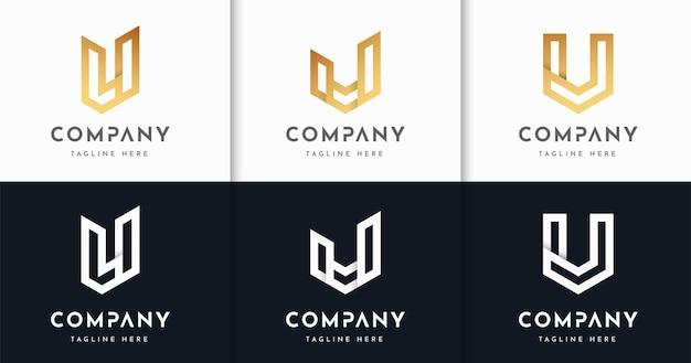 Zestaw szablonu projektu logo w stylu luksusowych listów monogram