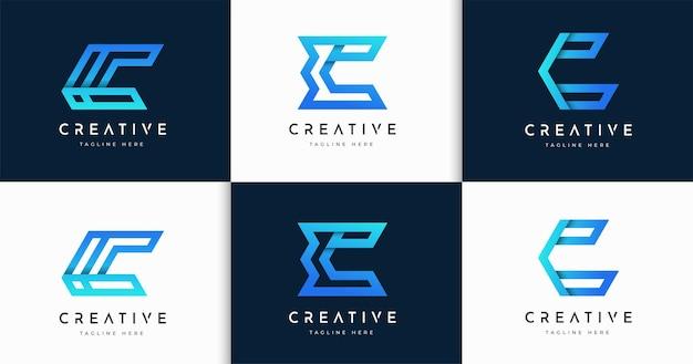 Zestaw szablonu projektu logo w stylu monogramu streszczenie list