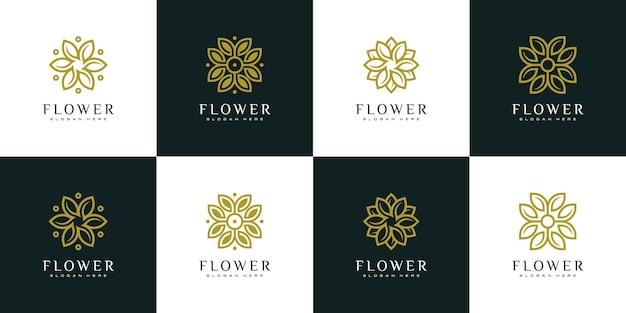 Zestaw szablonu projektu logo wektor kwiat