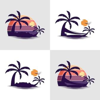 Zestaw szablonu projektu logo wyspy premium wektorów