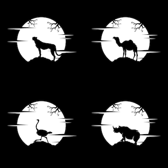Zestaw szablonu projektu logo zwierząt