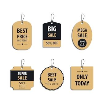 Zestaw szablonu projektu luksusowa złota metka z ceną i etykieta rabatowa do sprzedaży