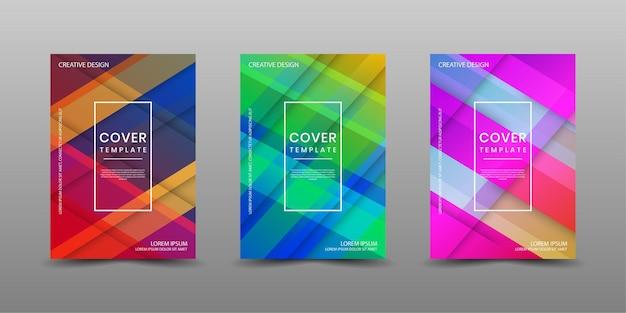 Zestaw szablonu projektu okładki z kolorowych abstrakcyjnych kształtów geometrycznych