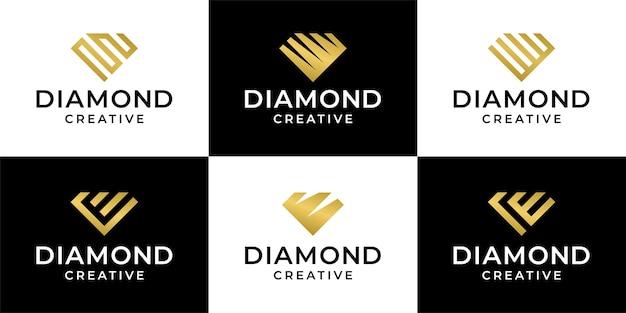 Zestaw szablonu projektu pakietu logo diamentowych klejnotów kolekcji