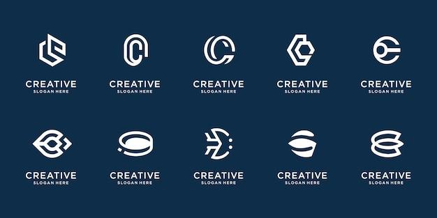 Zestaw szablonu projektu streszczenie litera c. inspiracja logo z płaskim i geometrycznym stylem linii.