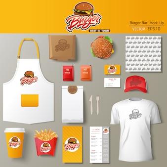 Zestaw szablonu projektu tożsamości korporacyjnej burger bar. szablon marki.