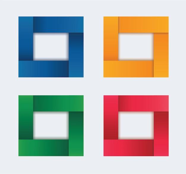 Zestaw szablonu ramki nowoczesny kwadrat na białym tle kolor