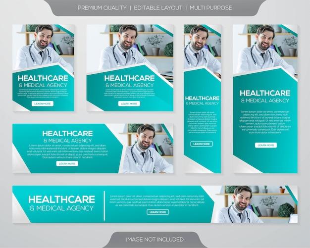 Zestaw szablonu transparent opieki zdrowotnej i medycznej