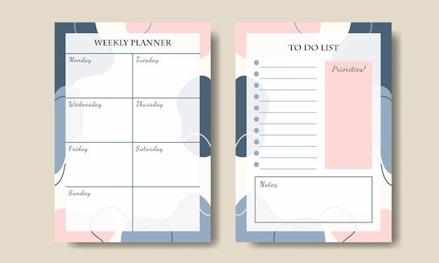 Zestaw szablonu tygodniowego planowania abstrakcyjnego kształtu