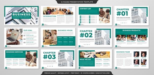 Zestaw szablonu układu prezentacji w minimalistycznym stylu i nowoczesnym zastosowaniu koncepcji profilu biznesowego i raportu rocznego