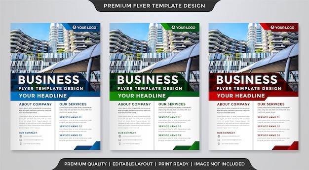 Zestaw szablonu ulotki biznesowej w stylu premium