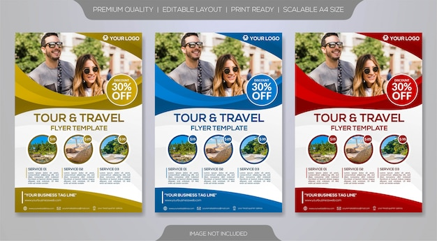 Zestaw szablonu ulotki dla organizatora wycieczek lub biura podróży