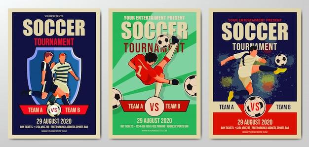 Zestaw szablonu ulotki turnieju piłki nożnej lub piłki nożnej