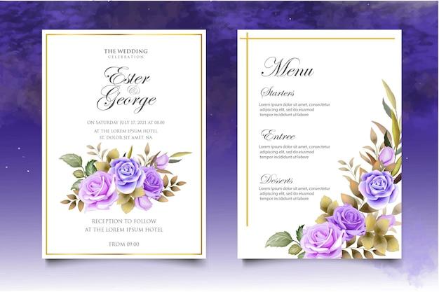 Zestaw szablonu zaproszenia ślubne kwiatowy z pięknymi kwiatami i liśćmi