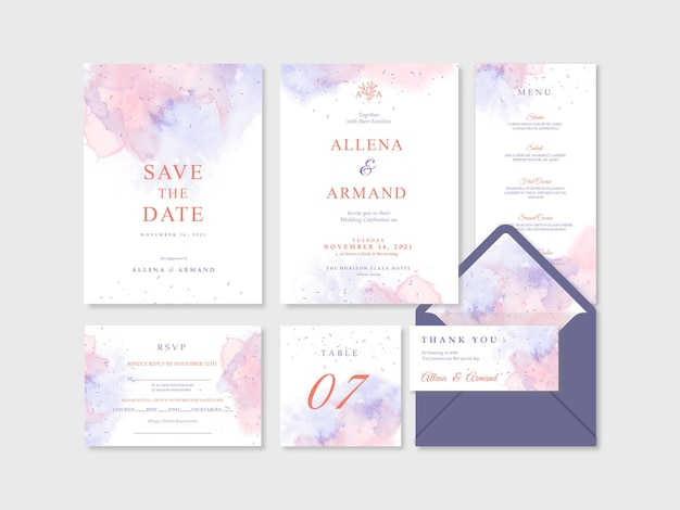 Zestaw szablonu zaproszenia ślubne z pięknym tle akwarela