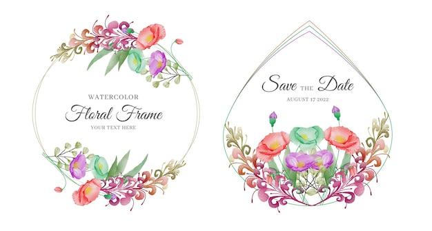 Zestaw szablonu zaproszenia ślubne z ręcznie rysowane piękny kwiatowy kwiat ramki