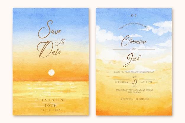 Zestaw szablonu zaproszenia ślubnego z zachód słońca niebo plaża ręcznie rysowane tła akwarela