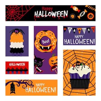 Zestaw szalonych halloweenowych banerów
