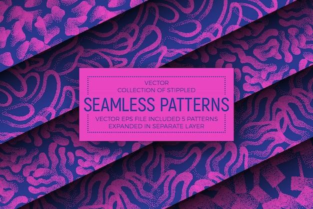 Zestaw szalonych kolorów stippled abstrakcyjne wzory bez szwu