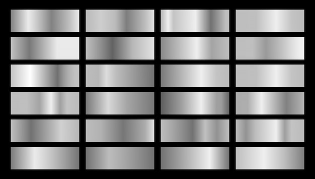 Zestaw szare błyszczące metalowe tabliczki