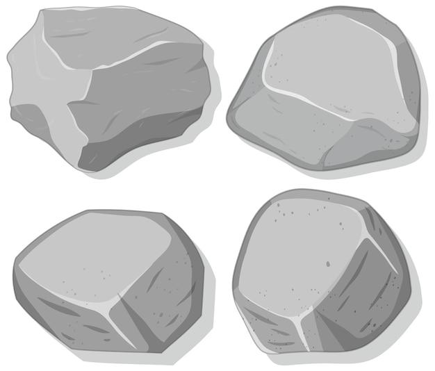 Zestaw szarych kamieni na białym tle